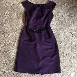 Purple fully lined sheath dress with patent belt